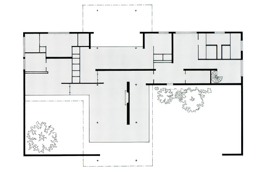 Mies van der rohe brick house plan - House plans